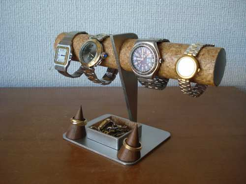 腕時計スタンド 4本掛け腕時計スタンド、指輪スタンド角トレイバージョン