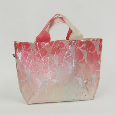 ピンクの鶴柄帯バッグ