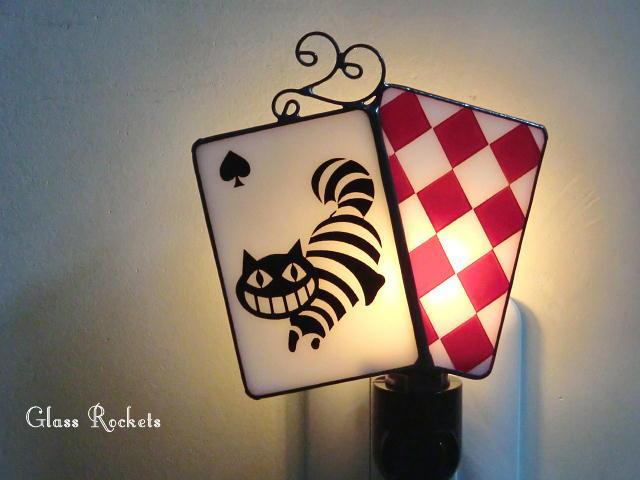 アリス チェシャ猫  ステンドナイトランプ