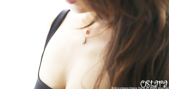 【14KGF】Necklace,16KGP Teardrop Glass -Fuchsia-
