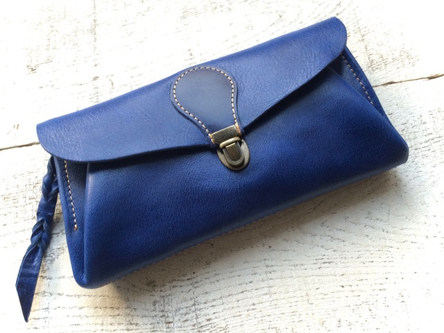 【受注製作(納期約1ヶ月)】長財布 「series-envelope」瑠璃色(ウルトラマリン)