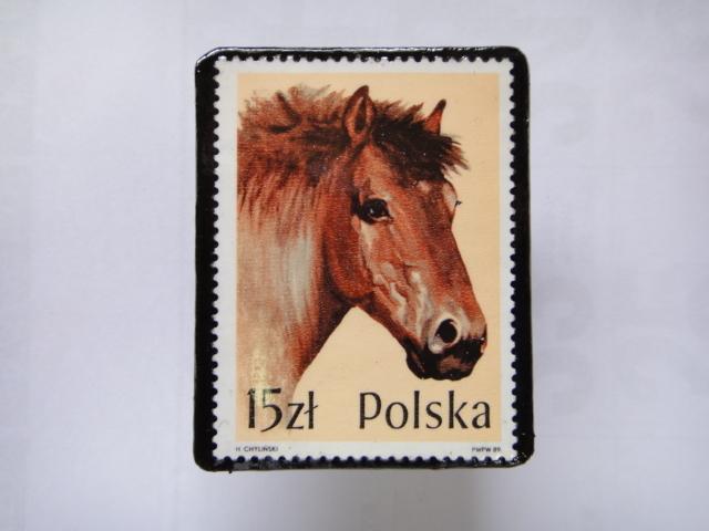 ポーランド 馬切手ブローチ1375