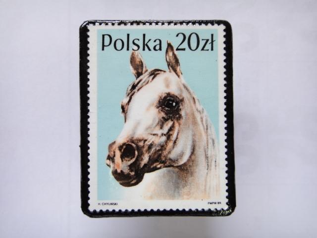 ポーランド 馬切手ブローチ1376