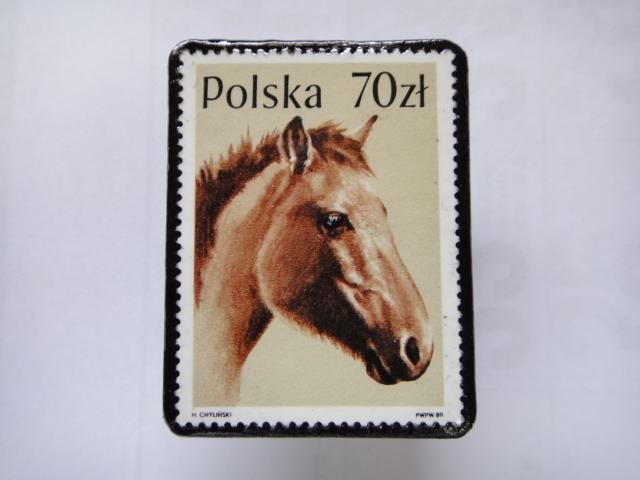 ポーランド 馬切手ブローチ1377