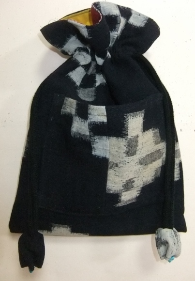 着物リメイク 久留米の絵絣で作った巾着袋 1718