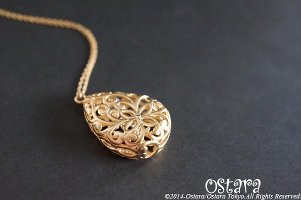 【14KGF】Long Necklace,16KGP Mat Gold Floral Teardrop Filigree
