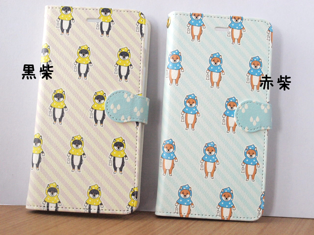 【iPhone5/5s/6/6s/SE用】てるてる柴犬手帳型スマホケース