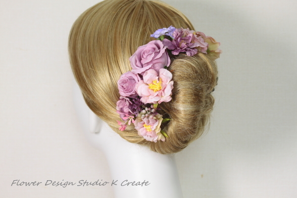 モーブピンクの薔薇のヘッドドレス(8本セット)