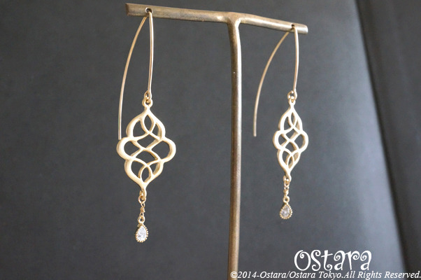 ��14KGF��Earrings,16KGP Mat Gold Oriental Filigree,16KGP CZ Teardrop