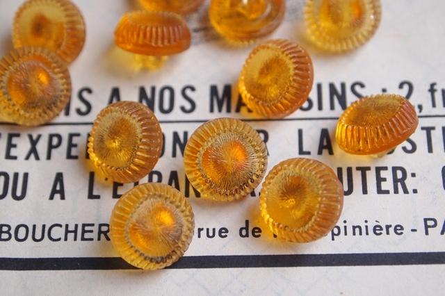 フランス ガラスのボタン オレンジ 2個セット
