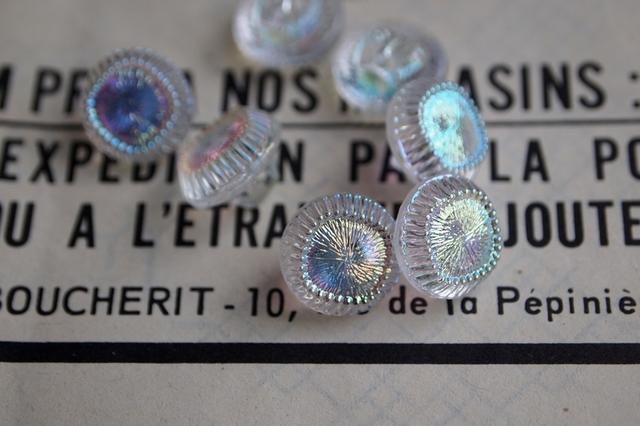 フランス ガラスのボタン クリア 2個セット