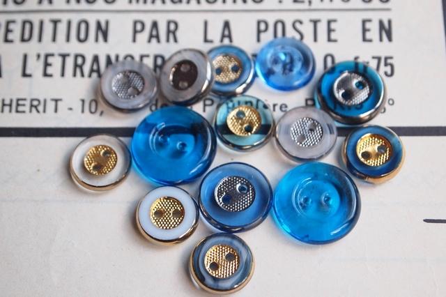 フランス ガラスのボタン セット