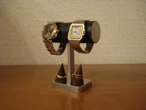 ブラック2本掛けちょっと背が高い腕時計スタンド  指輪スタンド付き