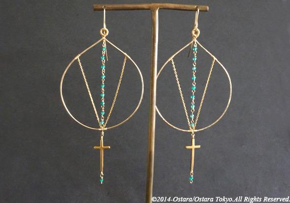 ��14KGF��Hammered Hoop Earrings,16KGP Mat Gold Cross, Gemstone Green Agate