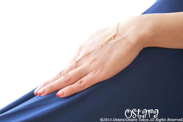 【16KGP】Ring Bracelet, 16KGP Mat Gold Cross