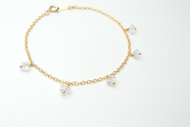 【14kgf】ハーキマーダイヤモンドのポイントブレスレット