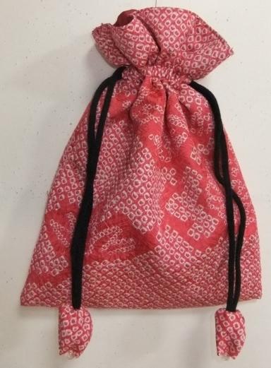 着物リメイク 絞りの羽織で作った巾着袋 1720