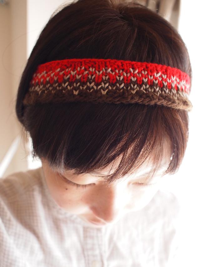 ノルディック風柄のヘアバンド【茶×赤】