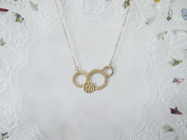 ☆アウトレット品☆14kgf製メタルリングネックレス(273)