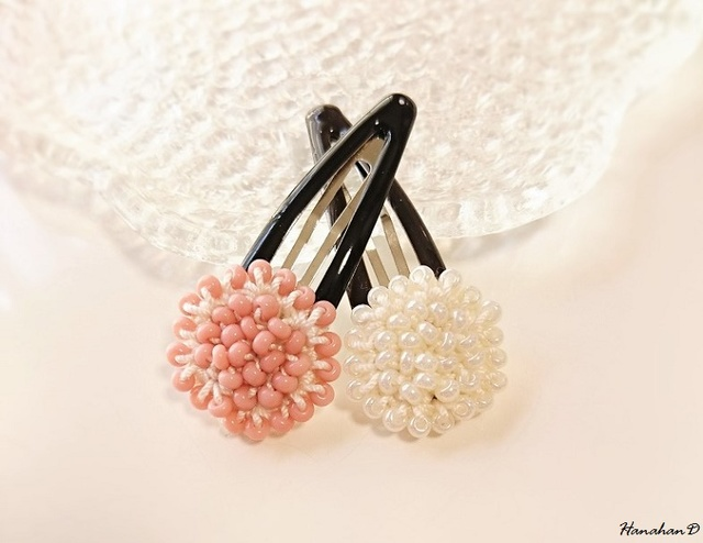 ビーズパッチンセット 手編みレースピンク&ホワイト