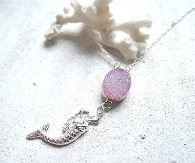 Sea Druzy Mermaid  (pink)