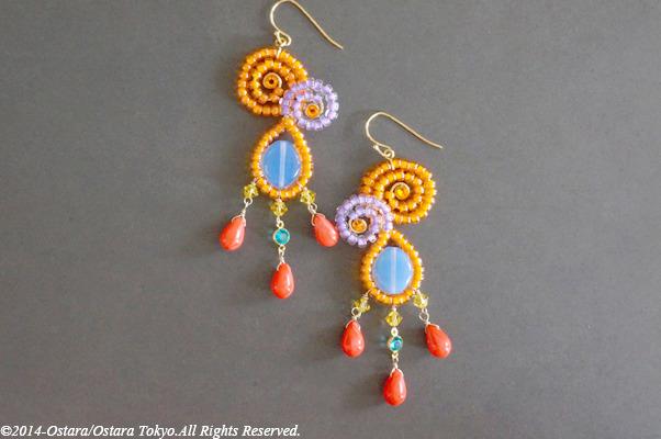 Orange,Purple Curvy Dangle Earring/Red Czech Glass