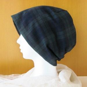 夏に涼しく下地にもなる ゆったりガーゼ帽子 ブラックウォッチ/黒(CGR-005-BW )