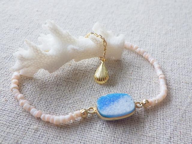 ???再販???Druzy Beach Bracelet---blue druzy & shell