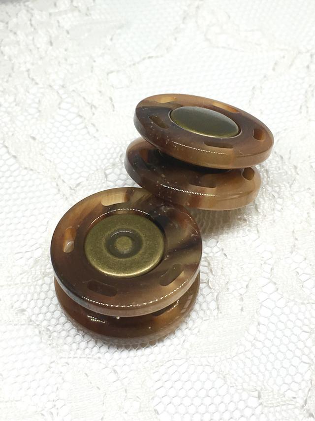 スナップボタン:平丸型(S)/べっ甲/2セット入<86>