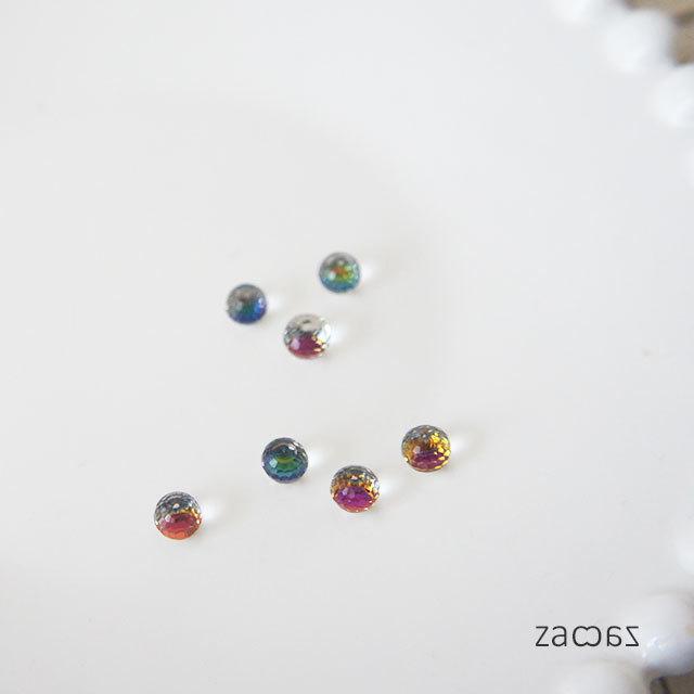 虹のミラーボール*樹脂イヤリング