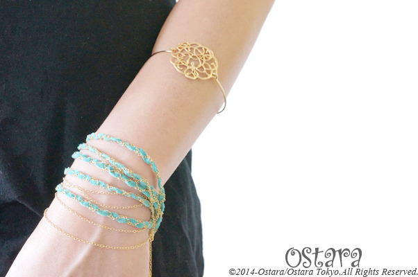 Suede & Chain Bracelet/Turquoise Blue x Gold