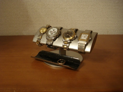 でかいだ円男性用腕時計スタンド ブラックロングハーフパイプトレイ