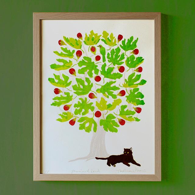 猫のシルクスクリーン版画(額入り)|約束の地#001