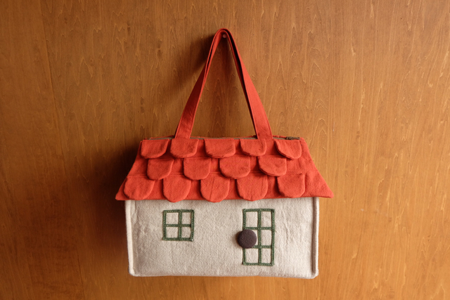 OUCHI box bag L  ダークオレンジ屋根