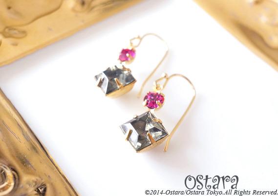 Rock Candy Earrings/Black Diamond&Fuchsia