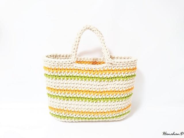 ボーダーコットンバッグ 手編みベージュ