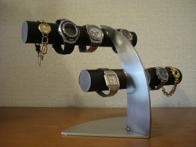 ブラック腕時計収納、保管 6本掛けデザイン腕時計スタンド★太めパイプ