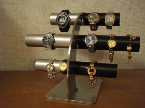 腕時計スタンド 上段、中段は男性用、最下段は女性用14本掛け反り返るデザイン左ステンレス&ブラック腕時計スタンド