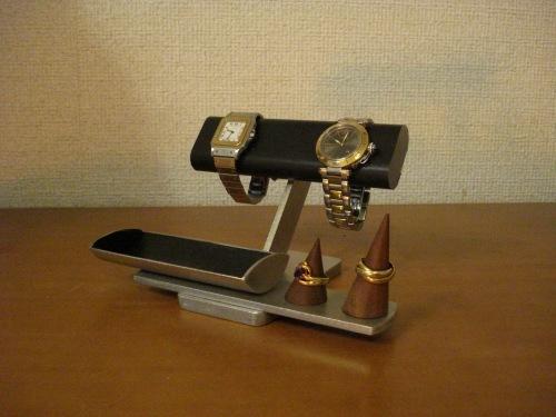 腕時計スタンド ブラック腕時計、リング、小物入れ付きアクセサリースタンド リングスタンド固定、トレイ端蓋あり