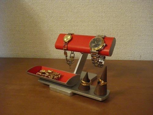 腕時計スタンド レッド腕時計、リング、小物入れ付きアクセサリースタンド リングスタンド固定、トレイ端蓋あり