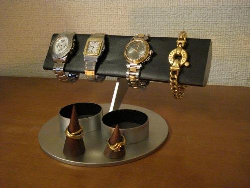 腕時計スタンド ブラック腕時計収納、半円腕時計スタンドダブル丸トレイ、リングスタンド付き