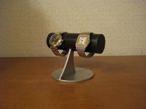 ウォッチスタンド ブラック丸パイプコルク貼り小粒な腕時計スタンド パイプオールブラックコルク貼り