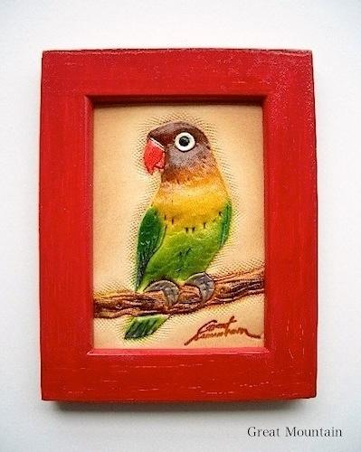 ボタンインコ 額絵 インコ 鳥 革 レザー  鳥グッズ