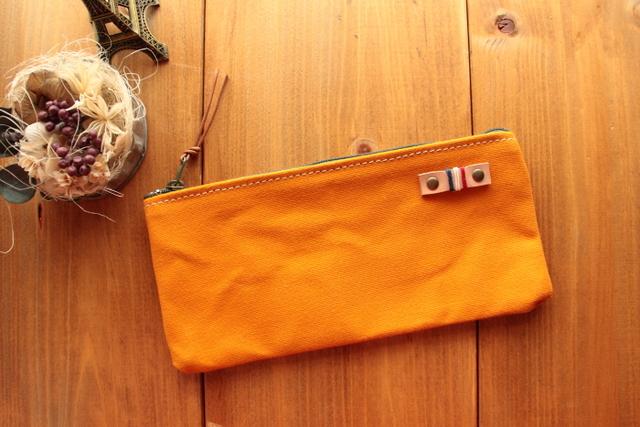 H981 帆布シンプルポーチ Sサイズ -柿色-