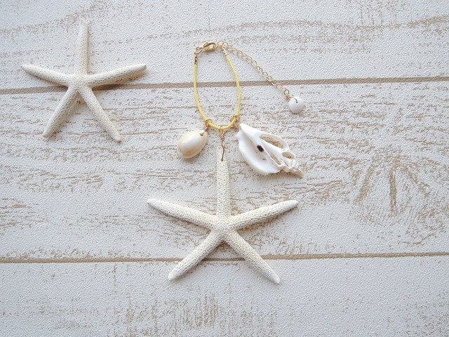 Shell & Star Fish バッグチャーム Yellow