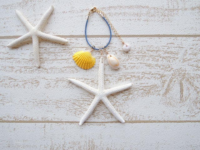 Shell & Star Fish バッグチャーム Blue
