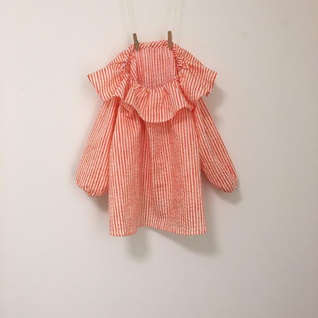 衿フリルストライプスモックオレンジ サイズ90