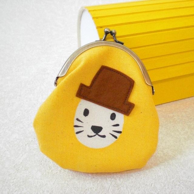 帽子ネコがまぐち yellow