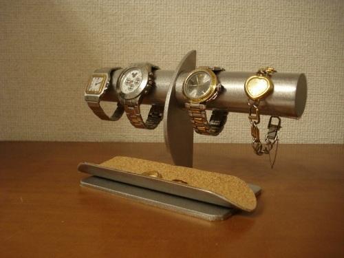 腕時計スタンド 三日月支柱4本掛け透明シートロングトレイ腕時計スタンド