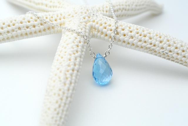 再販【silver925】宝石質スイスブルートパーズ(ドロップ)のネックレス